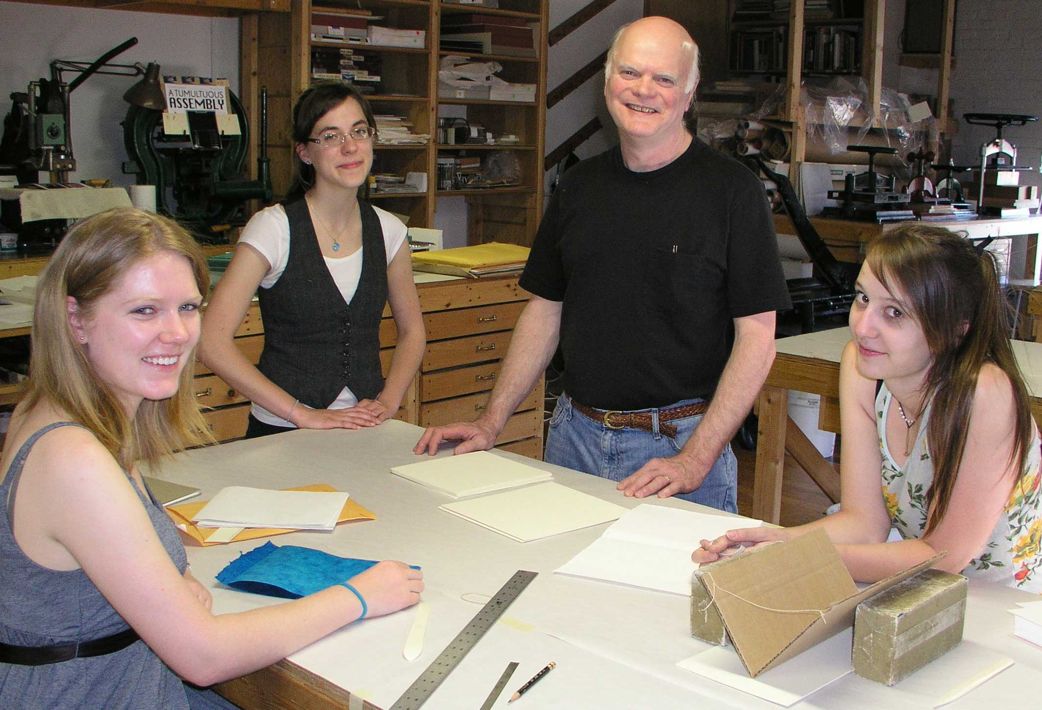 Many area college students have been welcomed to the studio for internships and for help with their book projects.